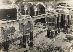 This photo may look like an excavation of an ancient site, but it actually shows reconstruction work on Brighton Aquarium. Photo taken on 11 May 1928.
