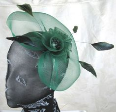 green feather headband fascinator millinery wedding ascot hat hair piece
