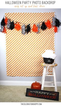 How To Hang A Photo Booth Backdrop – Easy Set-up And Tear-down - Halloween Halloween Tags, Photo Halloween, Halloween Dance, Halloween Carnival, Halloween Birthday, Couple Halloween, Holidays Halloween, Fall Carnival, Easy Halloween