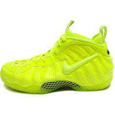 Nike Air Foamposite Pro Volt Neon Yellow 624041-700 ON HAND / READY TO... ❤ liked on Polyvore featuring shoes, sneakers, nike, nike footwear, nike shoes, neon yellow shoes and fluorescent yellow shoes