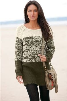 Ombre Knit Tunic    Could hold yarn double and this would be easy to do! Just two of the same colour where one colour and then one of each in the middle