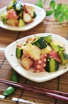 Octopus and Cucumber Marinated in Garlic, Ginger, and Soy Sauce Recipe by cookpad. Recipes With Soy Sauce, Ramen Recipes, Asian Recipes, Cooking Recipes, Ceviche, Nordic Recipe, No Cook Appetizers, Homemade Ramen, Japanese Dishes
