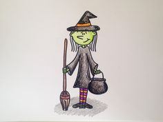 Drawing Lesson: How to Draw a Halloween Witch. Grab paper, crayons, and a marker and follow along with this simple drawing tutorial :) Happy Creating & Happy Halloween!