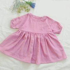 6a0cbfaa8bfcb 「子供のナチュラルなワンピース」子供の七分袖のギャザーワンピースです