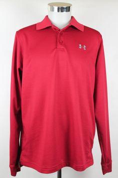 Under Armour Polo Shirt Mens size Medium Red Long Sleeve Athletic Fitness EUC #UnderArmour #PoloShirt