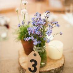 shabby chic Spring Summer romantic  vintage  woodland rustic decor decorations flowers reception purple centerpiece wedding wed