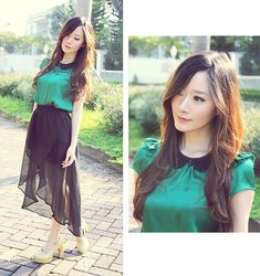 Zara Top, Bangkok Detachable Collar, Gowigasa Black Asymmetrical Sheer Skirt, June+Julia Mary Gold