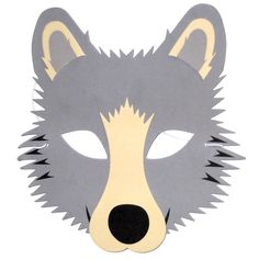 Also available in packs of 6 masks!  This Wolf foam children's face mask is designed by and made by Blue Frog Toys. It's ideal for children and grown ups.  This mask has a thin piece of elastic to hold it in place on your head.