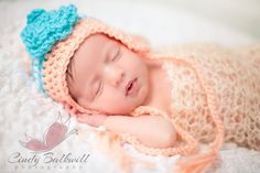 Image of Newborn Baby Striped Earflap Hat
