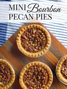Mini Bourbon Pecan Pies These miniature desserts are the perfect Thanksgiving recipe. Mini Bourbon Pecan Pies are easy to make. They are sweet and crunchy deliciousness! Mini Pecan Pies, Pecan Tarts, Pecan Pie Bars, Mini Pies, Mini Desserts, Easy Desserts, Dessert Recipes, Desserts With Alcohol, Mexican Desserts