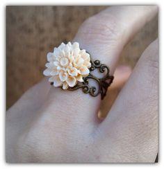 Peach Chrysanthemum Filigree Adjustable by LoveDesignsBoutique