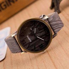 ff033c0e4fb4 2016 Simulation Wooden Watches Men Quartz Casual Wooden Color Leather Strap  Watch Wood Male Wristwatch Relogio Masculino