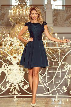 609c1e1856 157-9 Sukienka MARTA z koronką - ZIELEŃ BUTELKOWA