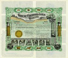 Great Cariboo Gold Company /- State of South Dakota, 4 Oktober 1906, 200 Shares US-$ 1, #2460, 33.9 x 39 cm, green, black, golden, folds, superb design, partially gold print.