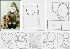 patrones para hacer un papa noel y rodolfo el reno en fieltro Christmas Crafts, Xmas, Santas Workshop, Snowman, Graffiti, Diagram, Dolls, Crochet, Pattern