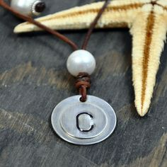 Leather and Pearls Necklace Custom Beach Letter by nicholaslandon, $88.00