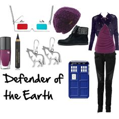 "FTOP: ""'Rose Tyler' by favourite-fictional-fashions on Polyvore"". Love the earrings, hat, necklace, nail polish and boots!"