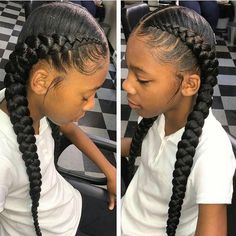 53 Box Braids Hairstyles That Rock - Hairstyles Trends Box Braids Hairstyles, Two Cornrow Braids, Baddie Hairstyles, 2 Braids With Weave, Simple Braids, Plaits, Braids For Kids, Girls Braids, Ghana Braids