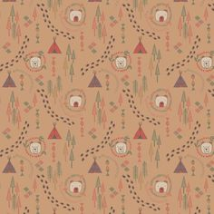 Big Bear Little Bear A101.3 - Wigwam woods on biscuit from Lewis & Irene // Juberry Fabrics