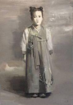 "Saatchi+Art+Artist+Eunjung+Seo;+Painting,+""Girl+in+Korean+Traditional+Dress;+Monochrome""+#art"