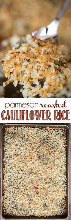 Parmesan Roasted Cauliflower Rice combines an easy and delicious vegetable side dish recipe with low carb cauliflower benefits!