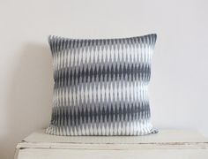 Diamond Ikat pillow cushion cover 20 x 20 in grey Ikat Pillows, Pillow Fabric, Cushions, Diamond, Grey, Cover, Handmade, Vintage, Throw Pillows