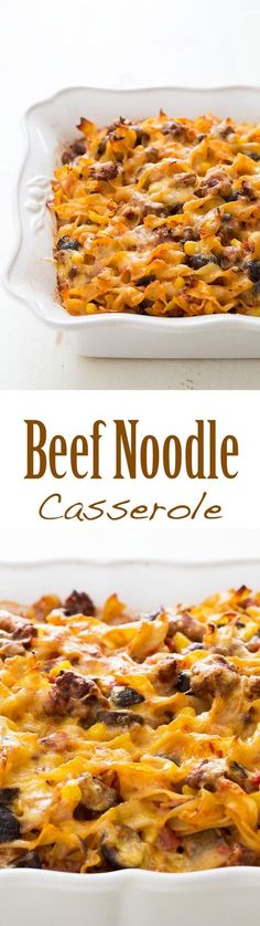 BEST Beef Noodle Casserole EVER! Our favorite recipe from my grandmother is this ground beef and egg noodle casserole with you won't believe all the other wonderful ingredients. Serves a crowd! On www (Baking Pasta For A Crowd) Beef Noodle Casserole, Casserole Dishes, Casserole Recipes, Pasta Recipes, New Recipes, Dinner Recipes, Cooking Recipes, Favorite Recipes, Noodle Recipes