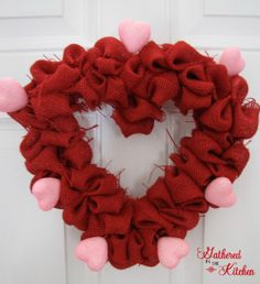 DIY Rag Wreath Tutorial - Beginner Level Project & Costs Under $10 - Gathered In The Kitchen Diy Valentines Day Wreath, Valentines Day Hearts, Valentines Day Decorations, Valentine Crafts, Valentine Ideas, Printable Valentine, Homemade Valentines, Valentine Box, Burlap Bubble Wreath