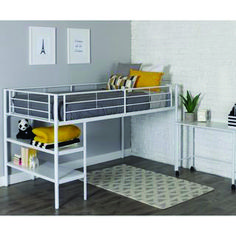Mack & Milo Aglandjia Twin Low Loft Bed with Bookcase Bed Frame Color: White Modern Bunk Beds, Low Loft Beds, Twin Bunk Beds, Kid Beds, Mdf Shelving, Desk Shelves, Open Shelving, Bookcase Bed, Trundle Bed With Storage