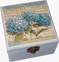 Mod podge, here I come! Cigar Box Projects, Cigar Box Crafts, Painted Boxes, Wooden Boxes, Book Crafts, Diy And Crafts, Mod Podge Crafts, Decoupage Box, Pretty Box