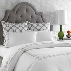 headboard and gray decor