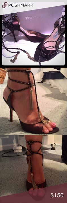 Jimmy Choo brown and gold lace up sandals Jimmy Choo brown and gold lace up sandals, gold tassel hanging chain size EU 40 but fits US 9 Jimmy Choo Shoes Sandals