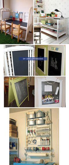 DIY Inspiration - Crib Conversions - To desks, side tables, chalkboards and racks.