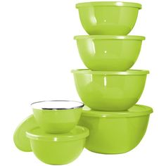 This beautiful enamel on steel bowl set is perfect for storing or serving all your leftovers. It has a matching color plastic lid for each bowl to give it that airtight seal. This item is also ideal for service on the table to storage in the refrigerator. Calypso Basics 12 Piece Solid Color Bowl Set Includes:.75 quart Bowl with lid1.15 quart Bowl with lid1.5 quart Bowl with lid2.15 quart Bowl with lid3 quart Bowl with lid3.75 quart Bowl with lid