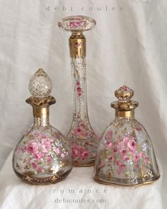 My romantic vintage and new hand painted perfume bottles are now available at www.debicoules.com