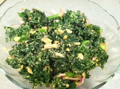 Kale Salad with Peanut Ginger Dressing.  Made this tonight with a few substitutions and it was delicious!