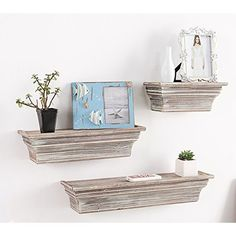 Rustic Whitewashed Wood Wall Mounted 3 Shelf Organizer