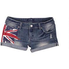 British Flag Denim Short ($20) ❤ liked on Polyvore
