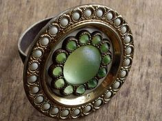 Adjustable Ring Antique Green and Brass Button by WhatOnceWas, $22.00