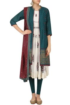 Ivory and teal zari embroidered jacket anarkali set available only at Pernia's Pop Up Shop. #happyshopping #shopnow #ppus