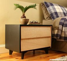 Add some Mid-Century Modern style ideas to your bedroom with these easy to build DIY nightstand plans.