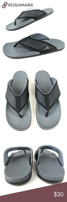 05d177b6247f Adidas Flip Flops Thong Sandals Mens 11 Adilette Adidas Flip Flops Thong Sandals  Mens 11 Adilette Black Gray Gently used ~ as pictured
