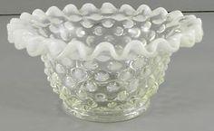 White Opalescent Hobnail Crimped Rim Bowl Small Vintage  www.ebay.com/...