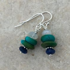 Turquoise Lapis and Moonstone Earrings with Sterling Silver Bead Jewellery, Gems Jewelry, Sea Glass Jewelry, Jewelry Art, Beaded Jewelry, Wire Wrapped Earrings, Beaded Earrings, Earrings Handmade, Handmade Jewelry