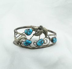 Vintage Sterling Silver And Kingman Mine Turquoise Small Cuff