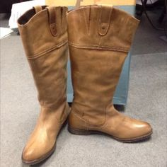 OTBT Riding Boots Size 9-91/2 Petaluma pair of boots I just had to have couldn't find them anywhere.Found the last pair at zulily & they are hard to get on & I think I need a half size larger.  I wear a size 9.5 that's what these are, I need a little more room.They would fit if I had a narrow foot & I didn't have a high instep.  I would size these closer to a size 9. these have a distressed look. Come w/ original box. These are not for wide calfs.Boots are about 14 inches high/ tall.Top of…