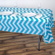 """54"""" x 108"""" Turquoise 10 Mil Thick Chevron Waterproof Tablecloth PVC Rectangle Disposable Tablecloth"""