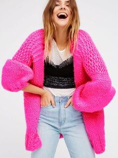 This chunky wool cardigan has an oversized effortless shape that's perfect for throwing on during the cooler months. Your new so cozy go-to Cool Sweaters, Girls Sweaters, Sweaters For Women, Quirky Fashion, Colorful Fashion, Free People Clothing, Clothes For Women, Knitwear Fashion, How To Purl Knit