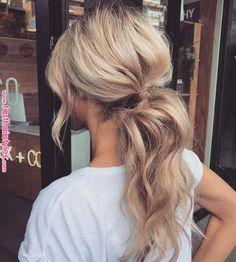 Voluminous blonde low ponytail messy ponytail hairstyles, short hair ponytail hairstyles, ponytail hairstyles for Messy Ponytail Hairstyles, Wavy Ponytail, Wavy Hair, Ponytail Hairstyles For Prom, Messy Ponytail Tutorial, Cute Ponytails, Curls Hair, Blonde Hairstyles, Fancy Hairstyles