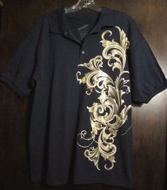 Mens Shirt Large Navy Blue Shiny Gold Design Decoded Brand Clubbing  #Decoded #Pulloverclub